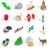 Sweden icons set, isometric 3d style. Sweden icons set in isometric 3d style  on white background Royalty Free Stock Photography