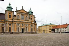 Sweden Kalmar Market Square with Cathedral Royalty Free Stock Images