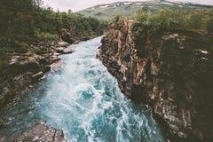 Sweden landscape canyon river Abiskojakka travel aerial view royalty free stock photo