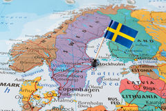 Sweden man and flag pin. Paper flag pins of Sweden, map of Nordic countries Denmark, Finland, Norway and Sweden, Northern Europe stock photos