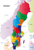 Sweden map. Designed in illustration with the regions colored in bright colors and with the main cities. On an illustration neighbouring countries are shown too
