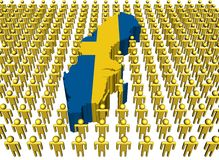Sweden map flag with many people Royalty Free Stock Images