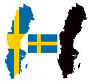 Sweden map and flag vector Royalty Free Stock Photo