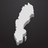 Sweden map in gray on a black background 3d Royalty Free Stock Photo