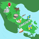Sweden map, isometric 3d style. Sweden map in isometric 3d style. Symbols of Sweden set collection vector illustration Stock Photo