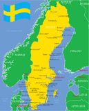 Sweden map with major cities. And flag Royalty Free Stock Photo