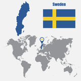 Sweden map on a world map with flag and map pointer. Vector illustration Royalty Free Stock Photos