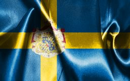 Sweden National Flag With Coat Of Arms Illustration. Sweden National Flag In blue and yellow colors Stock Images