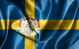 Sweden National Flag With Coat Of Arms Illustration. Sweden National Flag In blue and yellow colors Stock Photos