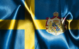 Sweden National Flag With Coat Of Arms Illustration. Sweden National Flag With Emblem, Coat Of Arms Illustration Royalty Free Stock Photo