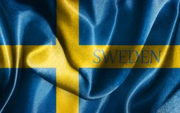 Sweden National Flag With Country Name Illustration. Sweden National Flag With Country Name On It Illustration Royalty Free Stock Images