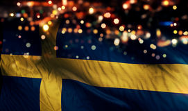 Sweden National Flag Light Night Bokeh Abstract Background. Art Royalty Free Stock Image