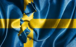 Sweden National Flag and Map Illustration. Sweden National Flag With Map Illustration Royalty Free Stock Photography