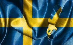 Sweden National Flag and Map Illustration. Sweden National Flag With Map Illustration Stock Image