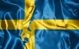 Sweden National Flag and Map Illustration. Sweden National Flag with Map Illustration Stock Images