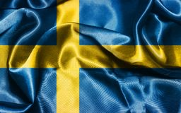 Sweden National Flag Waving in The Wind Illustration. National Flag Of Sweden in Blue And Yellow Colors  Illustration Royalty Free Stock Photo
