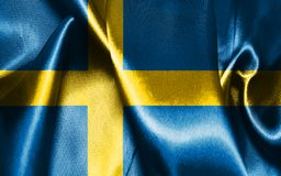 Sweden National Flag Waving in The Wind Illustration. National Flag Of Sweden in Blue And Yellow Colors  Illustration Stock Photography