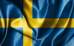 Sweden National Flag Waving in The Wind Illustration. National Flag Of Sweden in Blue And Yellow Colors  Illustration Stock Photos
