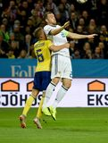 Sweden national team player Ludwig Augustinsson and Russia national team striker Artem Dzyuba. Solna, Sweden - November 20, 2018. Sweden national team player stock images