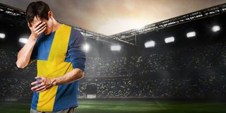 Sad Sweden player Royalty Free Stock Photography