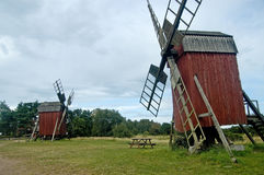 Sweden Oland Two old mills. The island of Oland in south Sweden still possesses 300 windmills. They are the main tourist attraction of the island Royalty Free Stock Images