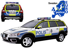 Sweden Police Car. Colored Illustration from Series Euro police, Vector Stock Images