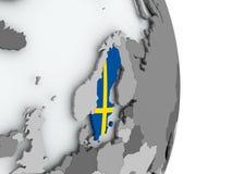 Map of Sweden with flag. Sweden on political globe with embedded flag. 3D illustration Stock Images