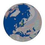 Sweden on political globe Stock Images