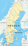 Sweden Political Map. With capital Stockholm, national borders, important cities, rivers and lakes. English labeling and scaling. Illustration Stock Images