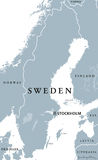 Sweden political map. With capital Stockholm, national borders and neighbors. Kingdom and Scandinavian country in Northern Europe. Gray illustration with Stock Images