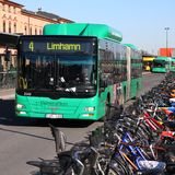 Sweden public transportation. MALMO - MARCH 8: MAN bus and bicycles on March 8, 2011 in Malmo, Sweden. In 2009 MAN delivered 6,232 buses to customers. Cycling is Royalty Free Stock Image