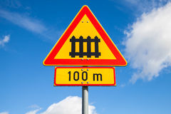 Sweden railway crossing with gate sign Stock Image