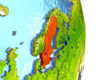 Sweden in red on Earth Royalty Free Stock Photography