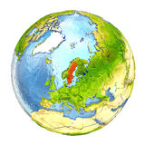 Sweden in red on full Earth Stock Images