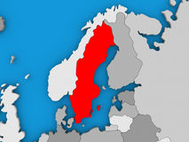 Sweden in red on globe Stock Images
