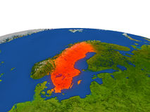 Sweden in red from orbit Royalty Free Stock Photo