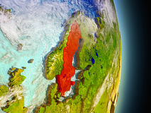 Sweden in red from space Stock Photography