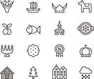 Sweden related icons. Set of outlined icons relating to the country Sweden on a white background Royalty Free Stock Photos