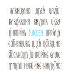 Sweden s Cities Lettering. Lettering set of Sweden s main cities names in Nordic art deco style. Vector illustration Royalty Free Stock Image