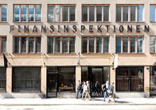 Sweden`s financial supervisory authority. Stockholm, Sweden - April 19, 2014: The building and entrance to the office of the Sweden`s financial supervisory Stock Image