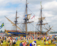 Sweden sailing frigate at port of Riga during regatta Royalty Free Stock Image
