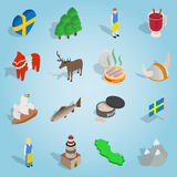 Sweden set icons, isometric 3d style. Isometric sweden icons set. Universal sweden icons to use for web and mobile UI, set of basic sweden elements vector Royalty Free Stock Photo
