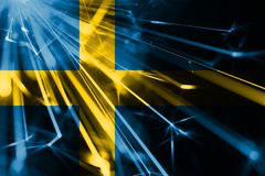 Sweden shining fireworks sparkling flag. New Year 2019 and Christmas futuristic shiny party concept flag. Sweden shining fireworks sparkling flag. New Year 2019 royalty free illustration