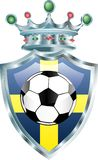 Sweden soccer. Vector illustration of the soccer ball on sweden flag Royalty Free Stock Images
