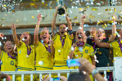 Sweden soccer national team European champions. Nathalie Björn with cup after winning UEFA Womens Under-19 Championship final Stock Images