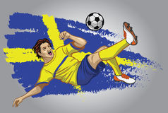 Sweden soccer player with flag as a background Stock Image