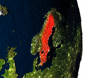 Sweden from space during dusk Stock Photo