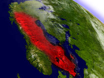 Sweden from space highlighted in red Royalty Free Stock Photos