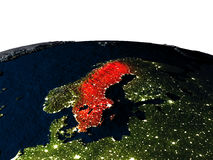 Sweden from space at night Royalty Free Stock Images