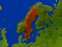 Sweden from space in red Royalty Free Stock Photo